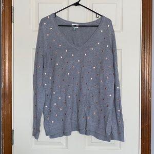 Polka dot V neck sweater